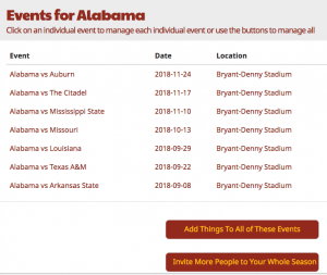 home game tailgating schedule signup